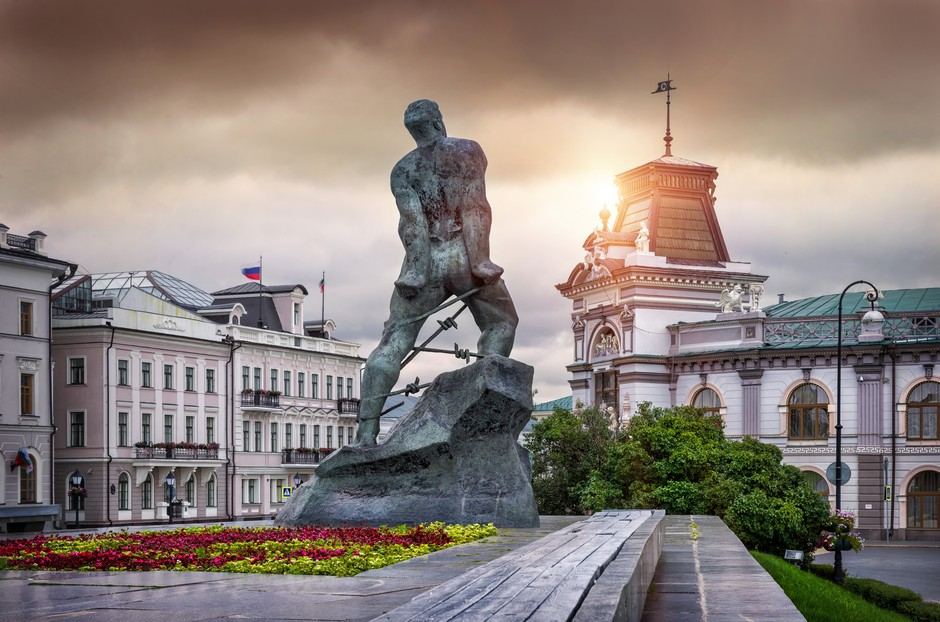 Belle statue sur la place