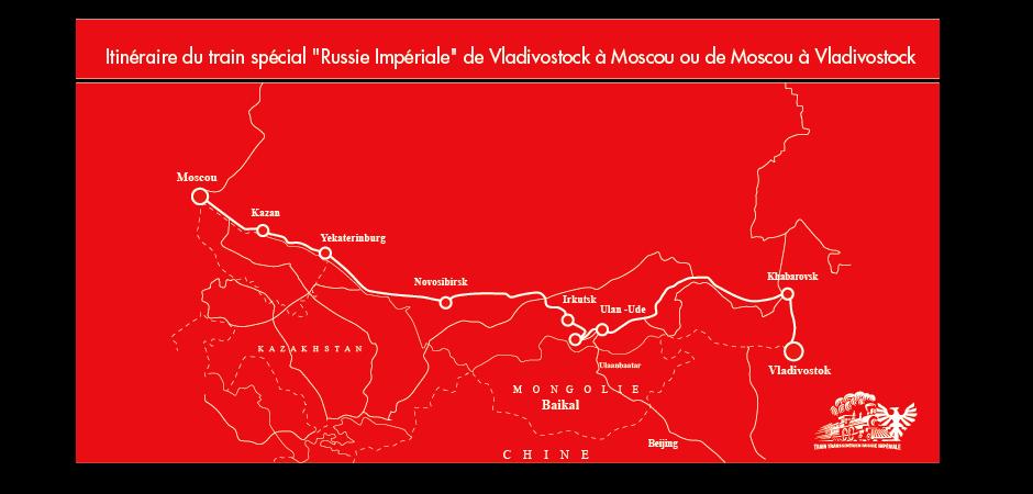 Itinéraire - Carte du train Russie Impériale de Moscou à Vladivostock