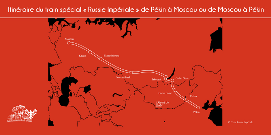 Itinéraire - Carte du train Russie Impériale de Moscou à Pékin