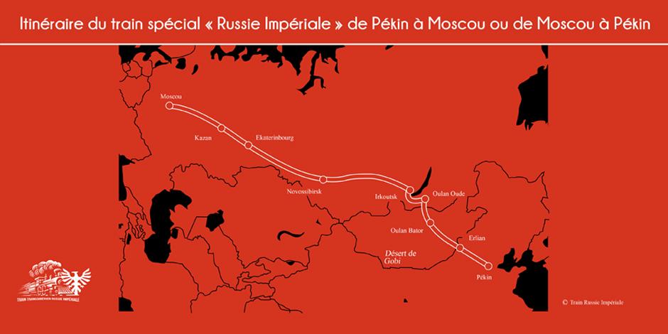 Carte - Itinéraire du train Russie Impériale de Pékin à Moscou